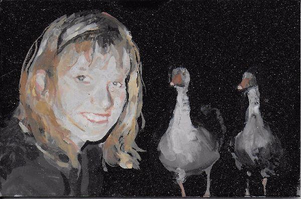 Self Portrait with Two Gossipy Birds 2017 8by5cm