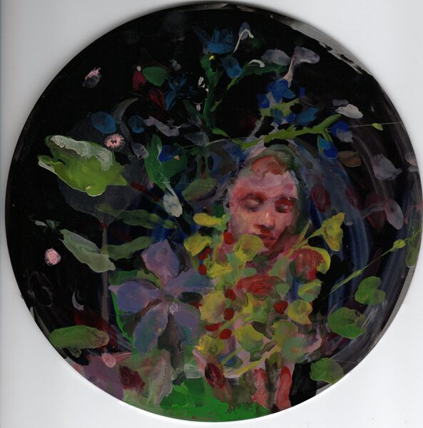 Conscientious Gardner - enamel on aluminium 2021 20 cm diameter
