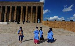 Celebrating graduation day at the Ataturk mausuleum.