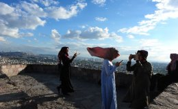 """Young women overlooking Ankara at """"the castle"""""""