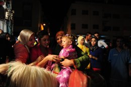 Days before end of the Ramadan, children celebrate their first end of the fast
