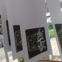 The  finished print run hanging up to dry.