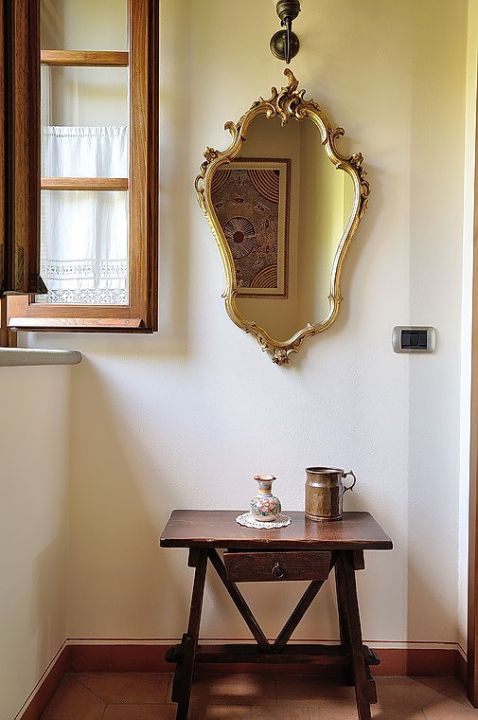 Antique mirror and table