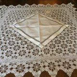 Vintage Linen & Hand crochet Tea Table Cloth