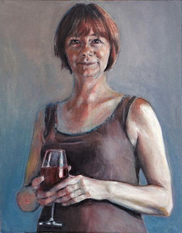sandra with wine glass