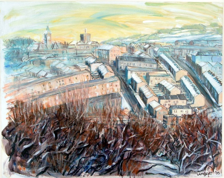 Colne - a winter view with gorse bushes