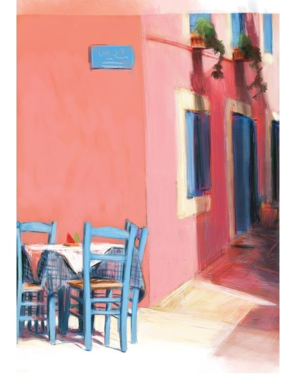 Pink building and blue chairs