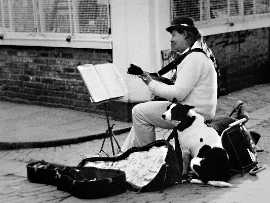 Busker and his dog, York, UK