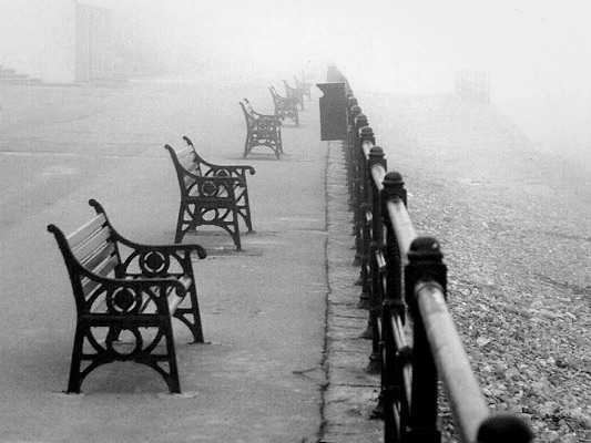 Foggy day on the promenade, Saltburn-by-the-Sea, Cleveland
