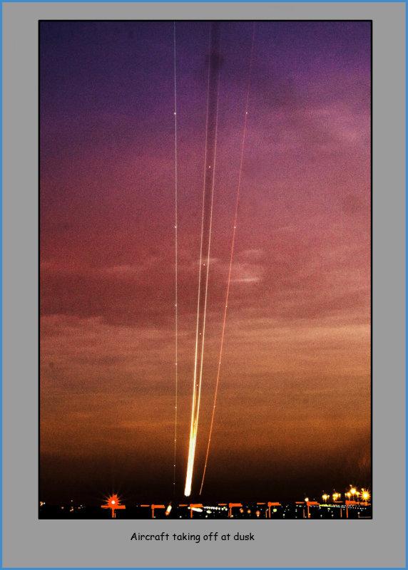 Aircraft taking off at dusk