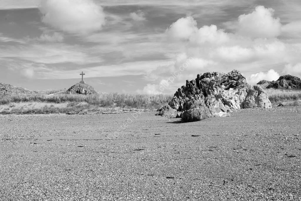 Cross on Llanddwyn Island Anglesey monochrome