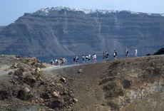 Rim of volcanic crater Santorini