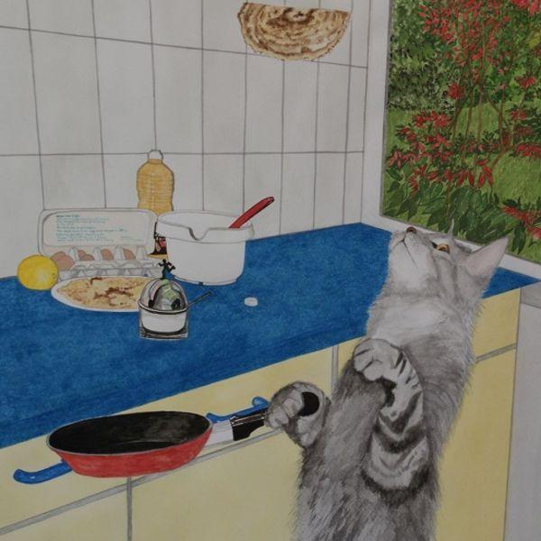 Daniel's cat makes a pancake