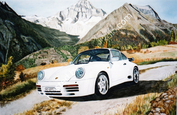 client's Porsche in the Swiss mountains