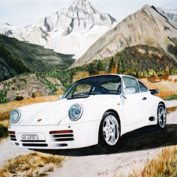 client's Porsche in the Swiss mountains