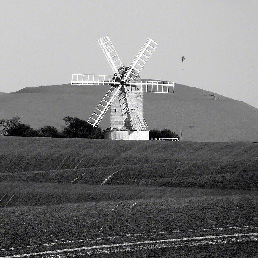 BW Kingston Windmill before Mount Caburn