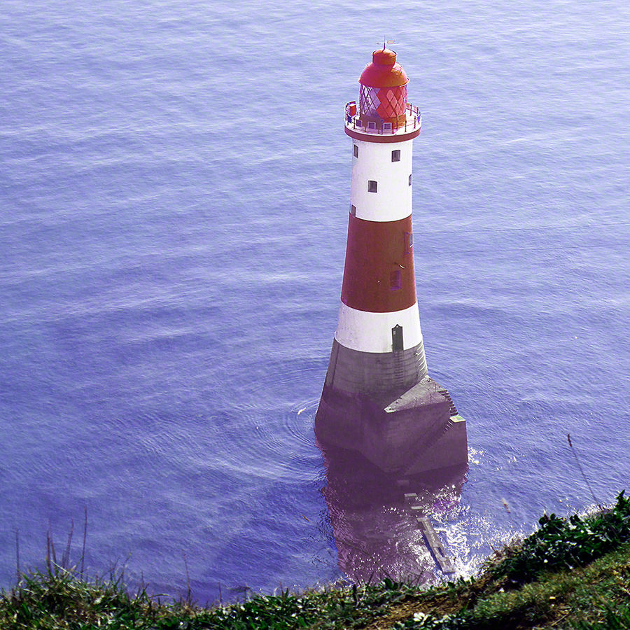 Beachy Head Lighthouse from above the cliff