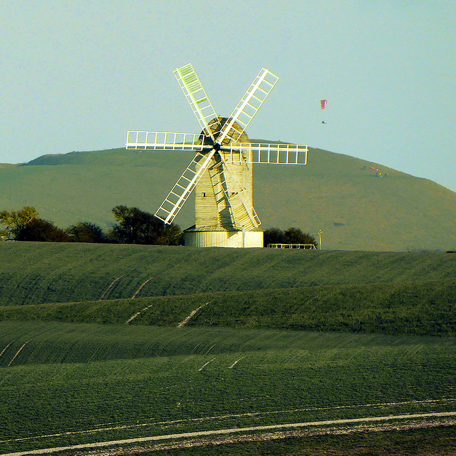 Kingston Windmill before Mount Caburn