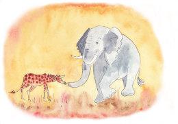 Little giraffe asks the elephant for advice