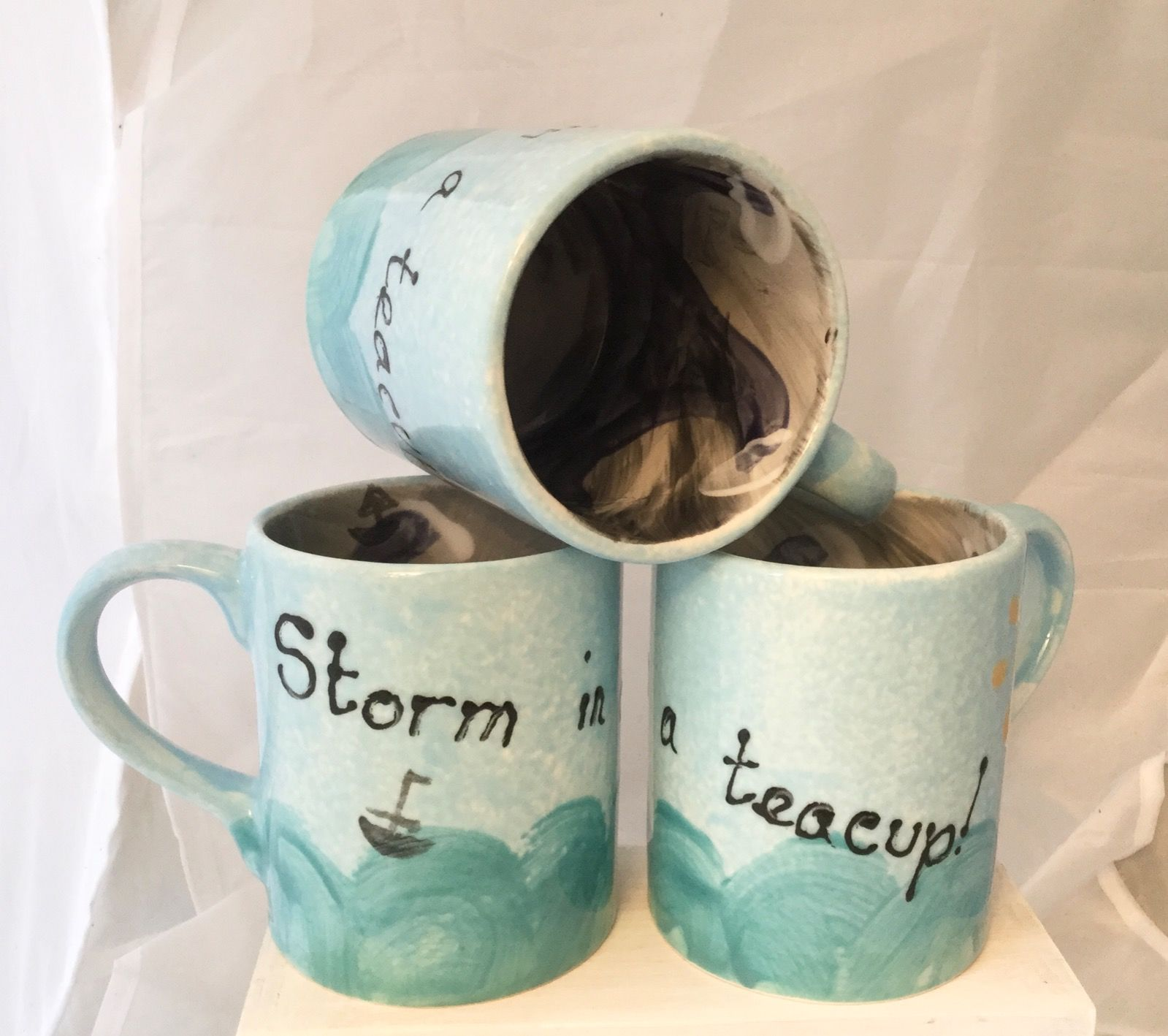 Storm in a tea cup, hand painted mug, height 10 cm