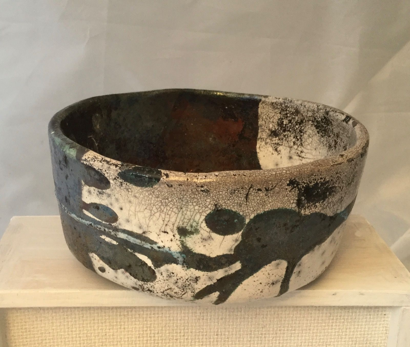 Half and half Raku bowl 13 cm diameter