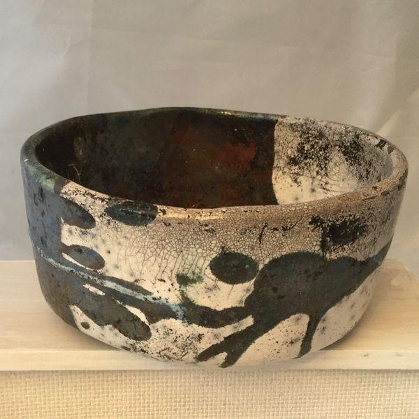 Half and half Raku bowl 13 cm diameter