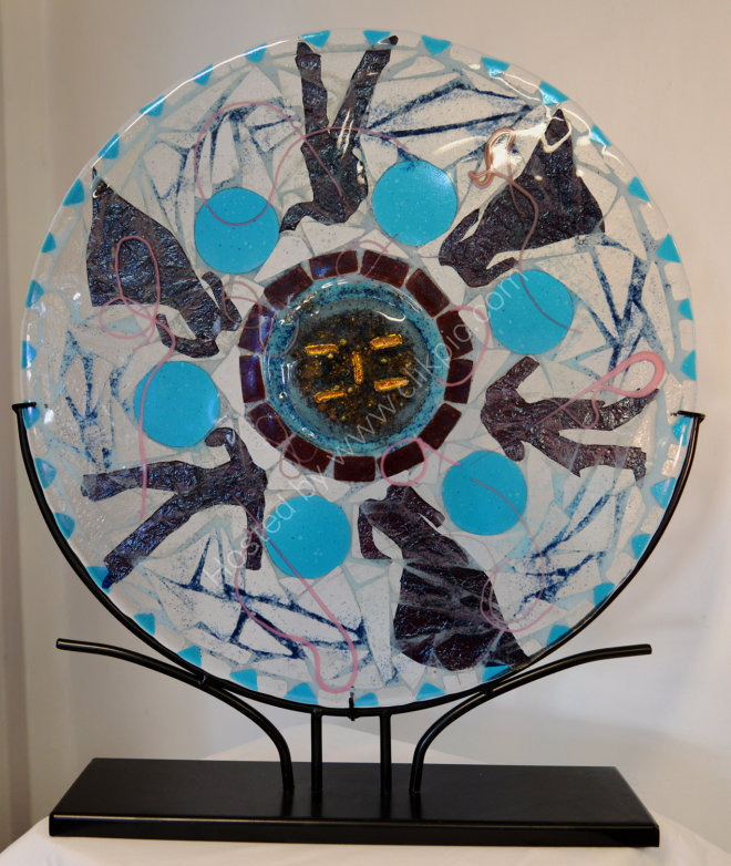 Dancers 2. Fused Bullseye Glass