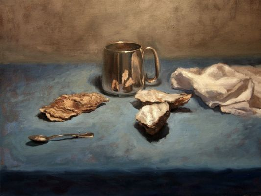 Still life of a half-pint tankard and oyster shells, 2009