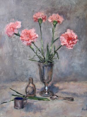 Carnations and mustard pot