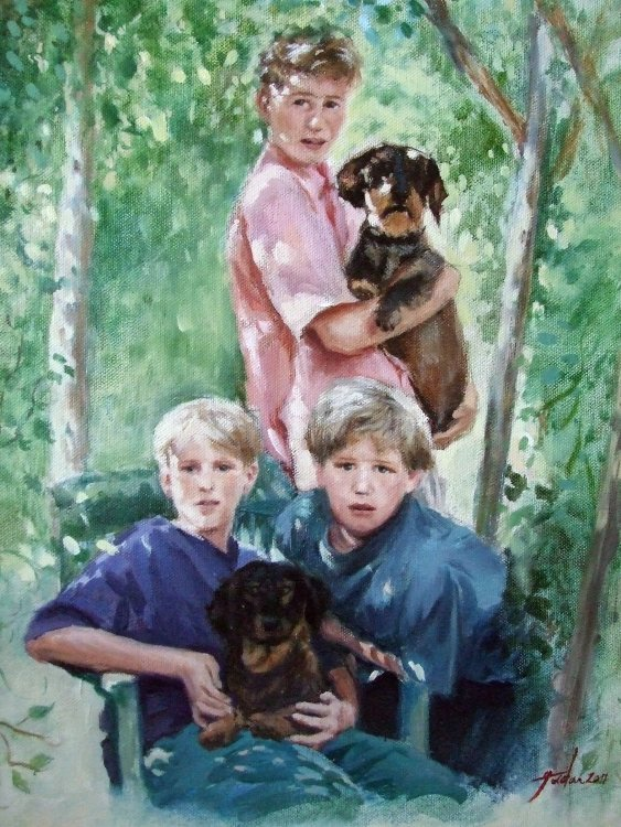 Three brothers and their dachshunds