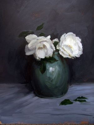 Winter rose in green vase