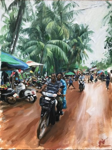 Cambodian village scene