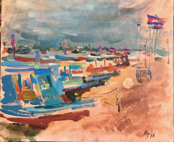 Boats on Tonle Sap Lake, Siem Reap Province, Cambodia