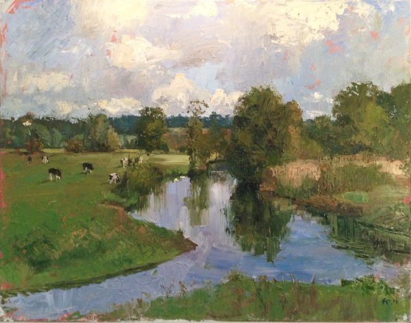 Cows grazing on the Stour at Dedham