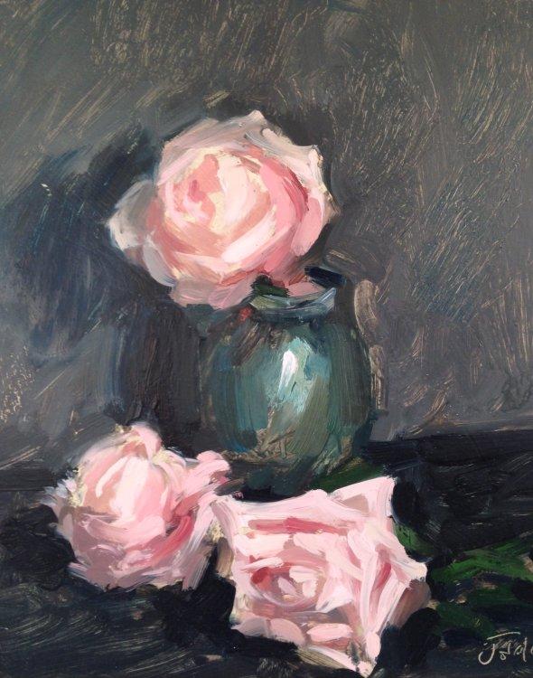 Pink roses and jade vase