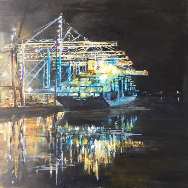 Southampton Container terminal at night