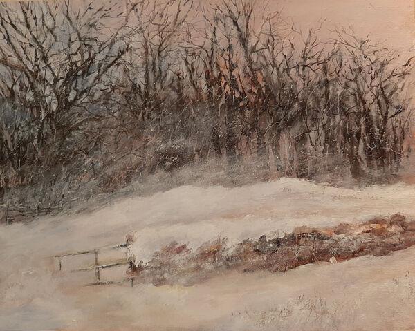 Lynda Wilson. December Blizzard. Acrylic on Canvas board. Unframed. £95