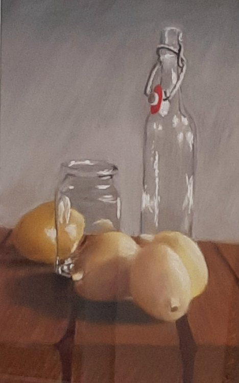 Fred Davies.    Still Life With Lemons. Watercolour