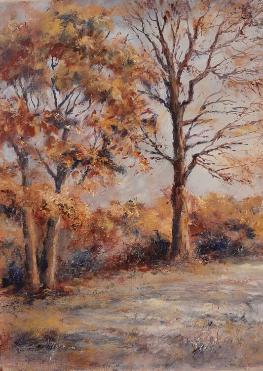 Lynda Wilson. Frosty Autumn Morning, Pantasaph . Acrylic on canvas board. Unframed. £95