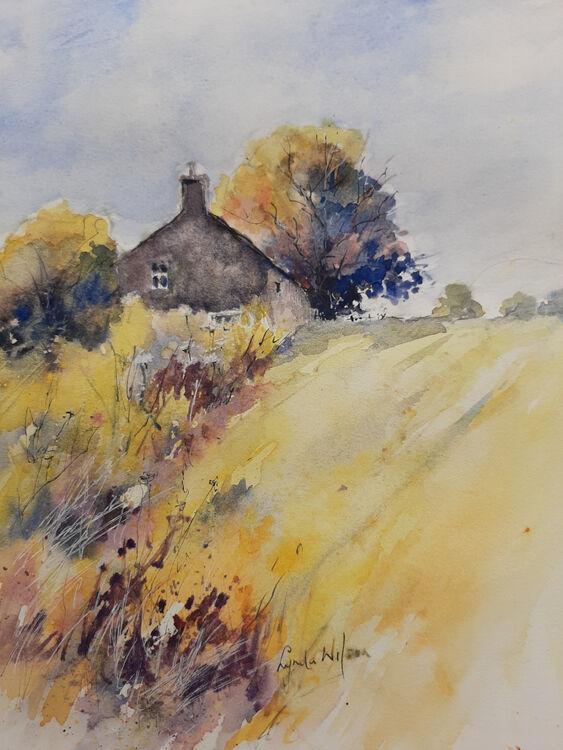 Lynda Wilson. Meadow Farmhouse. Watercolour. £50 unframed