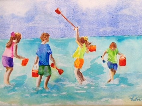Patricia Davies. Our Day at the Beach. Mixed