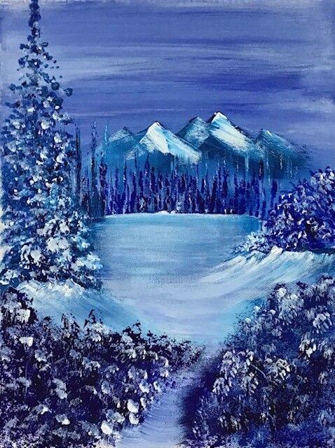 Patricia Davies.   Blue Lake.  Acrylic. 16''x16''  £25