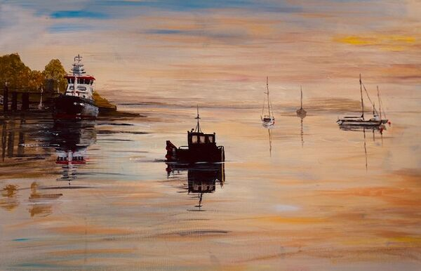 Gill Benjamin . Early Morning on the Menai Straits. Acrylic on large boxed canvas. £45