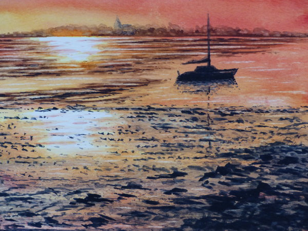 Mierion Hughes.  Eastury Sunset. Watercolour