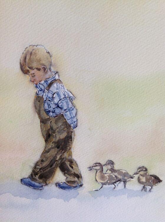 Marjorie Scott. Follow my Leader. Watercolour and Ink. Unframed. £50