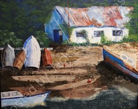Maureen Bell. Boat Shed. .Acrylic.
