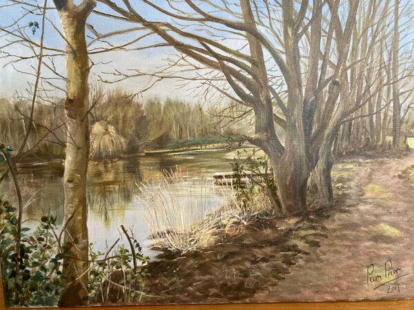 Pamela Prior.  Reflections. Acrilic on boxed canvas.  £50