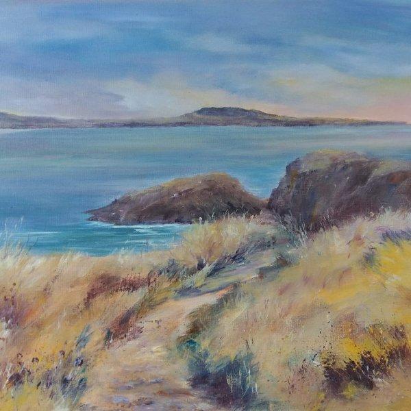 Lynda Wilson. Coastal Footpath, Pembrokeshire.  Acrylic