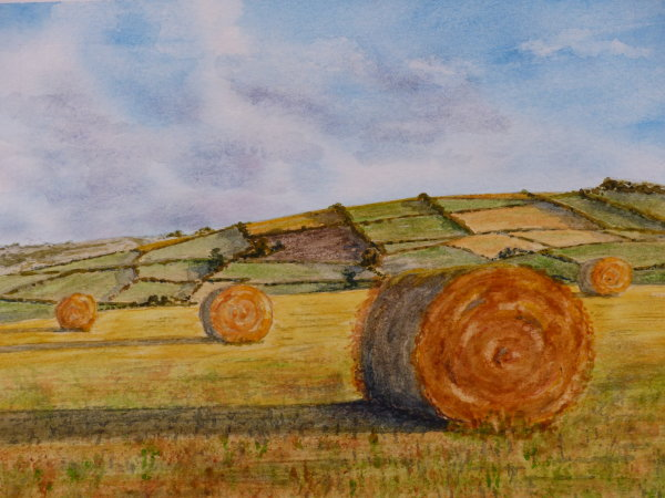 Mierion Hughes. The Summer Harvest. Watercolour