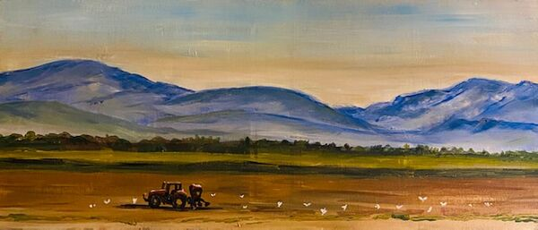 Gill Benjamin . Sunrise in Snowdonia. Acrylic on small boxed canvas.   £28